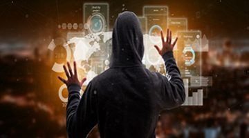 View of Hacker man holding User interface screens with icon, stats and data 3d rendering